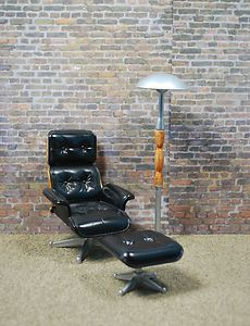 OOAK Barbie Eames Chair, Stool and Retro Lamp
