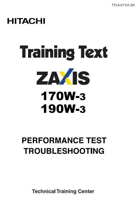 Hitachi Wheeled Excavator Type Zaxis 170, 190: 170W-3, 190W-3 Workshop Service Manual
