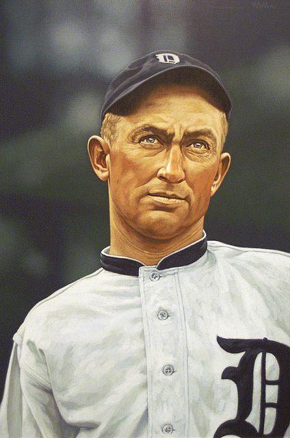 Ty Cobb painting by Arthur K. Miller Detroit Tigers #Baseball #BaseballArt #Vintage
