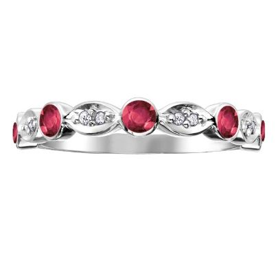9ct White Gold Diamond Ruby Fancy 1-2 Eternity 51X48WG-10RUB from The Jewel Hut collection at £190.00
