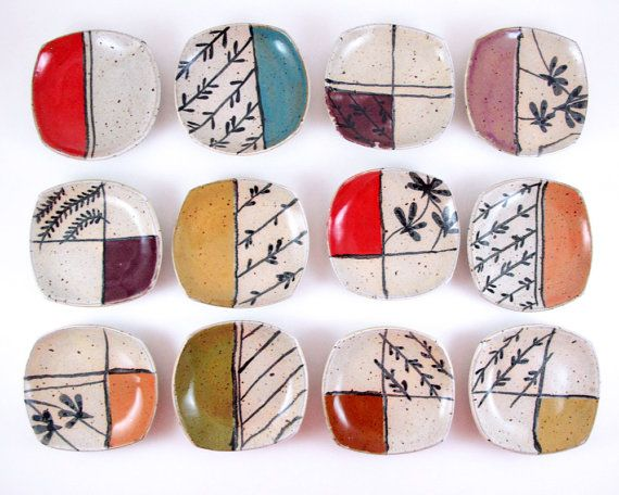 Littles.    Small, squared plates from LaPella Pottery in modern, whimsical designs and bright colors. Mix and match!