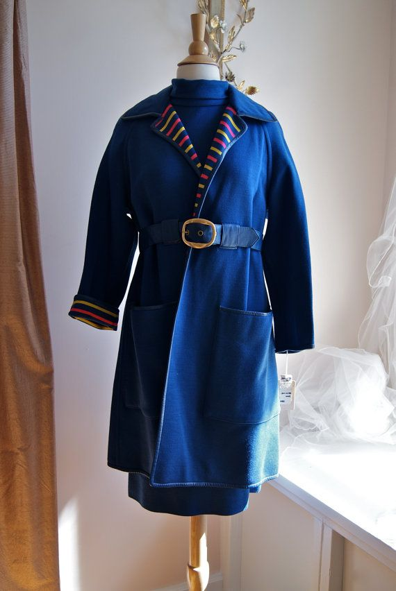 Bonnie Cashin//  NOS Vintage 1960s Royal Blue Wool Dress and Coat with Stupendous Striped Lining by Bonne Cashin Size L on Etsy, $398.00