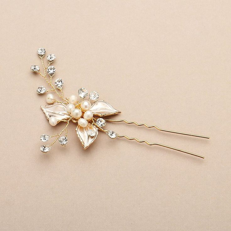 Mariell Bridal Hair Pin with Hand-Painted Silvery Gold Leaves, Freshwater Pearl and Crystal Sprays *** More info could be found at the image url.