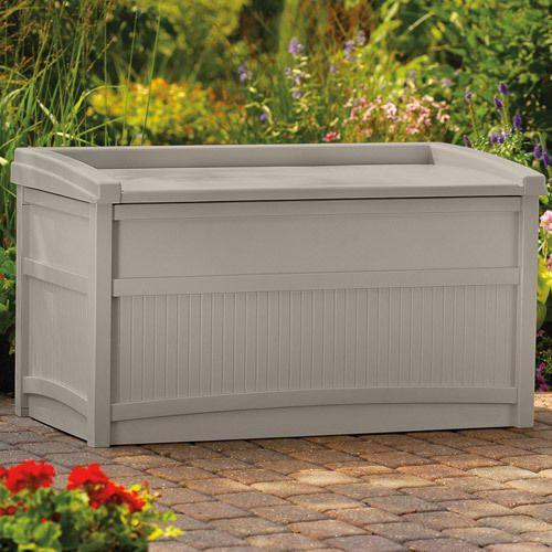 Garden Storage Box Seat Patio Organizer Plastic Outdoor Bench Deck 50 Gallon NEW #Outdoorboxstorage