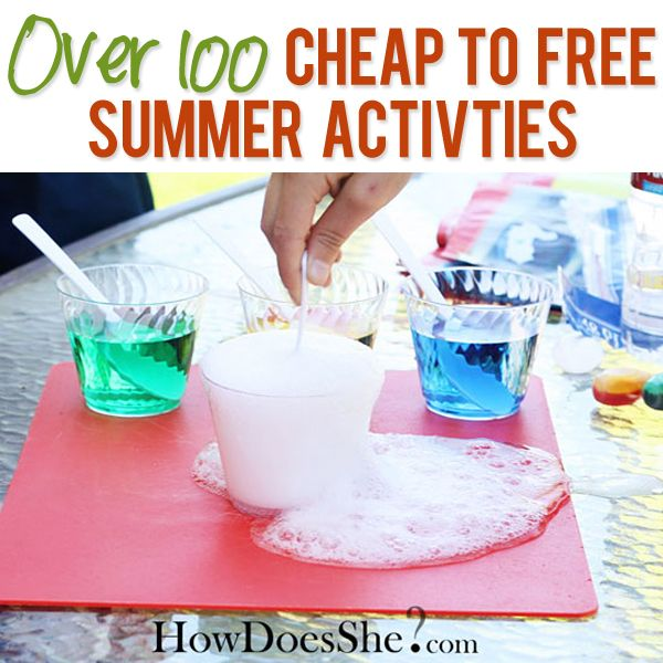 OVER 100 Cheap to FREE Summer Activities!! Ideas for inside the house, the yard, the park, nature, helping others, learning new things, crafts, recipes, and more! Get the list at howdoesshe.com