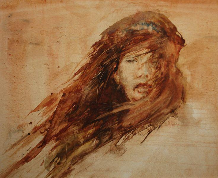 "Saatchi Online Artist: Maurice Sapiro; Watercolor 2001 Painting ""Windblown"""