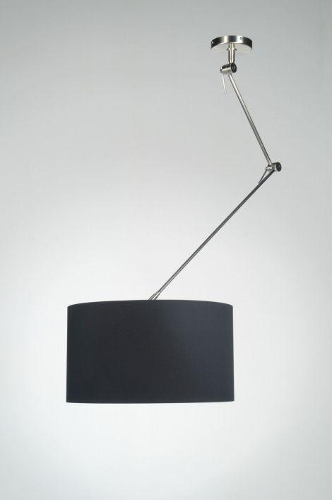 hanglamp 30004: modern, staal , rvs, stof, zwart, rond ...