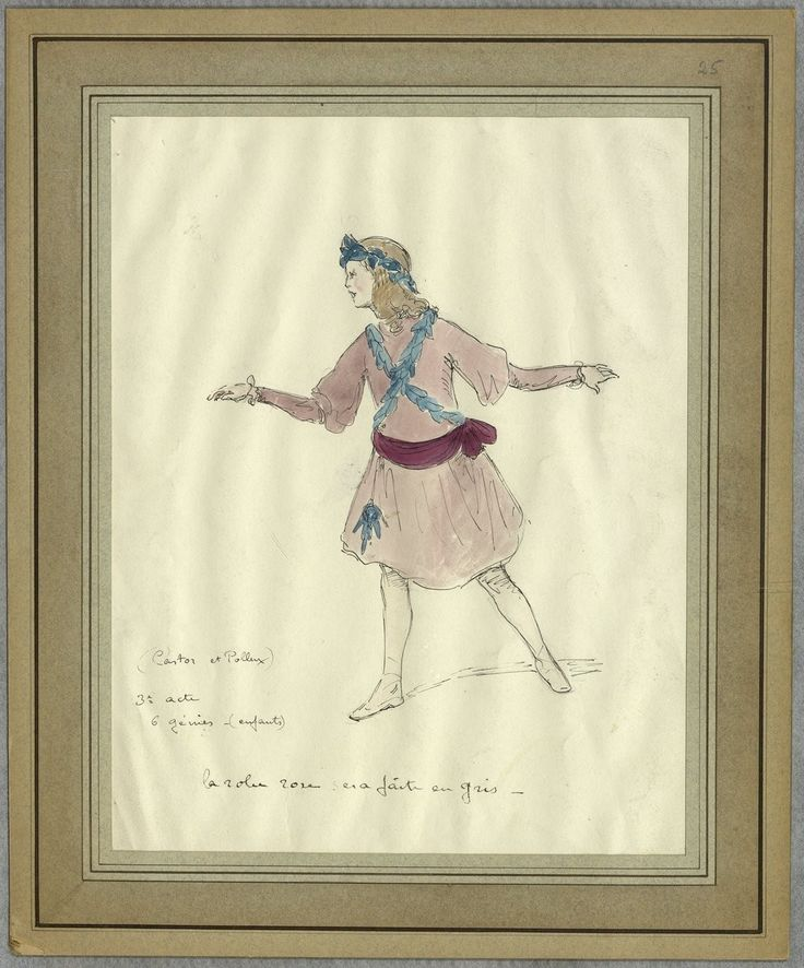 """Costume design (1918), by Jacques Drésa (1869-1929), for Act 3 of """"Castor et Pollux"""" (1737), by Jean-Philippe Rameau (1683-1764)."""