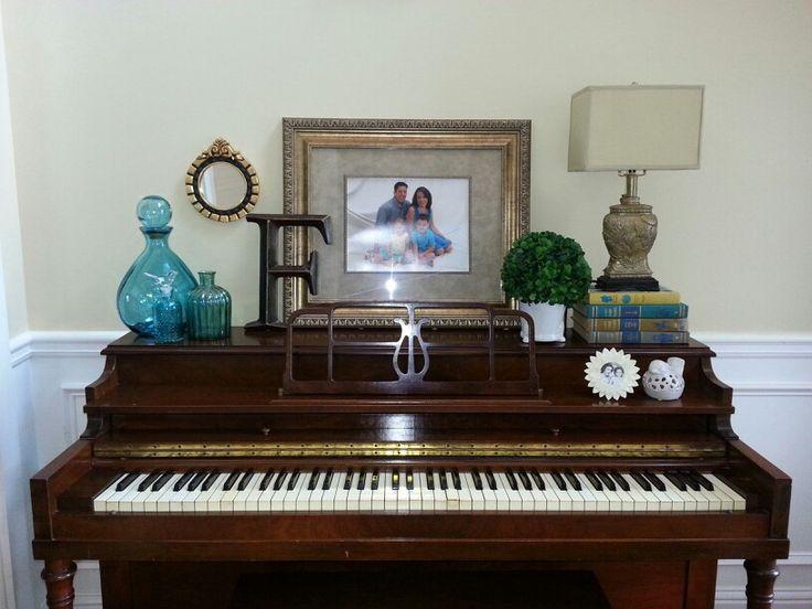 Piano decor...Great-grandma's piano finally decorated!