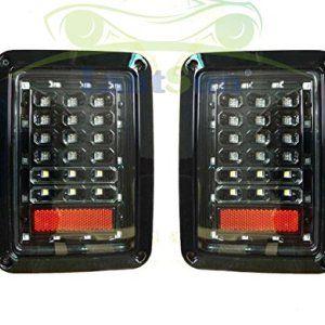 Lantsun Black Jeep JK LED Tail Light Assemblies for Wrangler