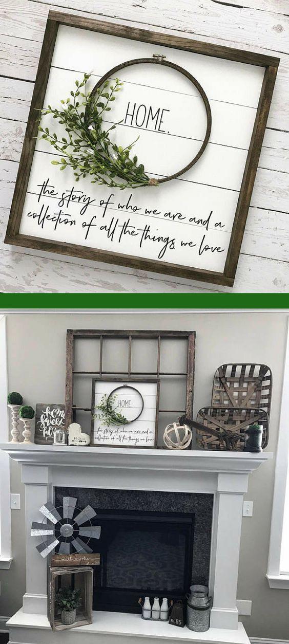 """Beautiful shiplap wreath """"HOME"""" sign. Would go great with farmhouse decor #farmhouse #farmhousestyle #afflink"""
