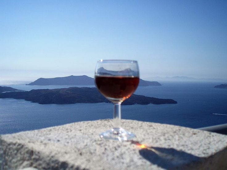 VISIT GREECE  Vinsanto wine. An ancient winemaking tradition of Santorini that dates back thousands of years and represents an important part of Santorini's history. Made from late harvested grapes that have been dried in the sun for 12–14 days, then crushed and fermented and then aged for a minimum of 24 months in oak barrels.