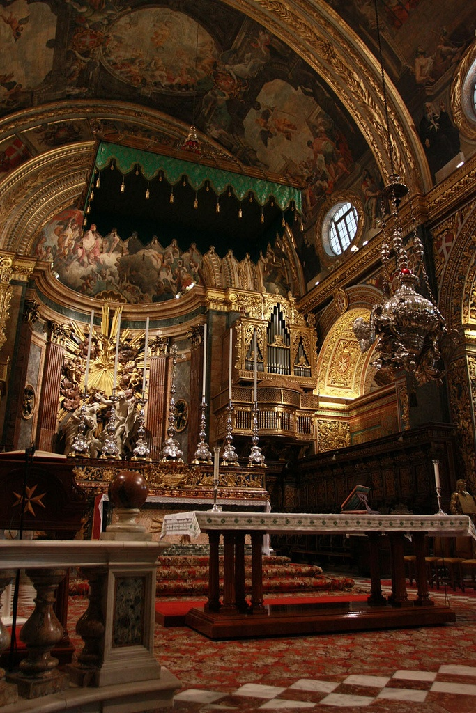 The main altar of St John's Co-Cathedral of Valletta, Malta.