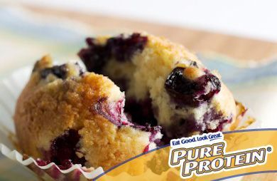 High-Protein, Low-Sugar Blueberry Protein Muffins: Just one of these muffins packs nearly 9 grams of protein! Pack one of these sweet, moist and delicious treats in your gym bag for a post-workout snack. | via @SparkPeople #recipe #food #protein_powder