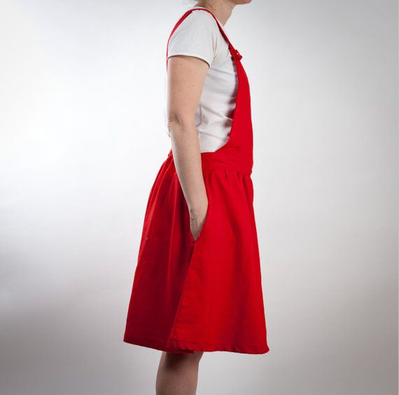 red linen overalls dress or skirt with big pocket by LeBlusine, $106.00