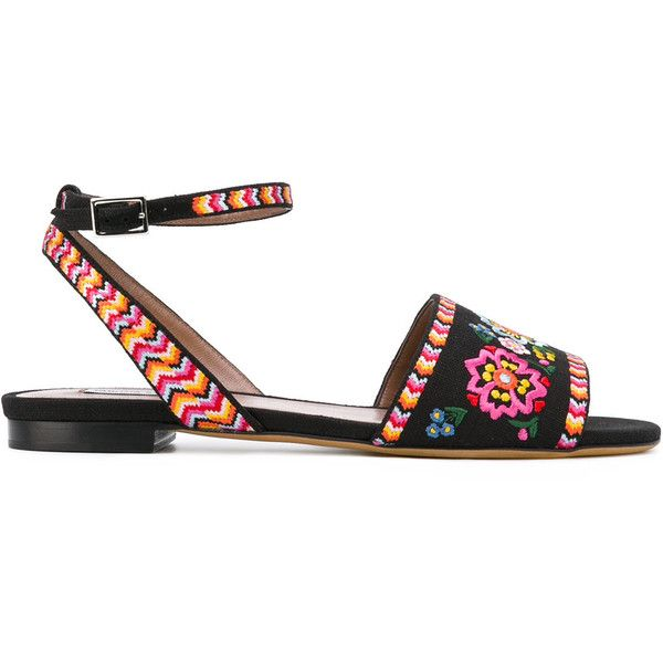 Tabitha Simmons Petal flat sandals (2.915 RON) ❤ liked on Polyvore featuring shoes, sandals, black, black sandals, black shoes, genuine leather shoes, flat shoes and black leather sandals
