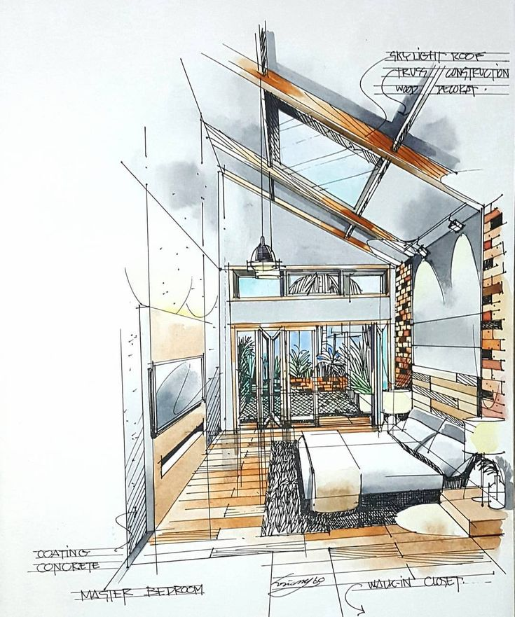 #bedroom #perspective #watercolor #interiordesign