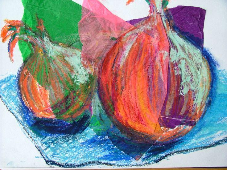 VAL.©. Onions mixed media.