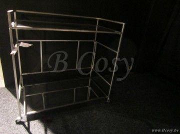 J-Line Antiek metalen butlertolley serveerwagen op wielen antiek zilver metaal 80