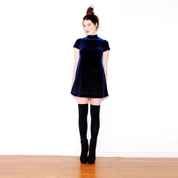 90s VELVET DRESS // navy blue velvet, high knee socks ...
