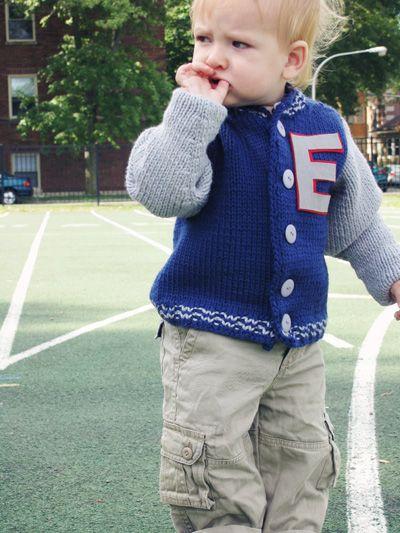 Free Knitting Pattern - Toddler & Children's Clothes: Little Letterman Coat