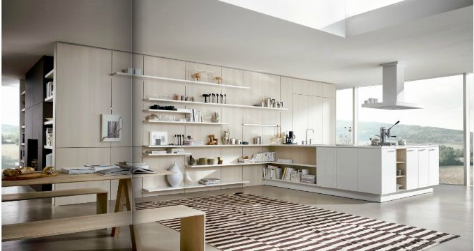 Zones 1, 2 and 5 Like panels on wall, shelving, open shelving in island