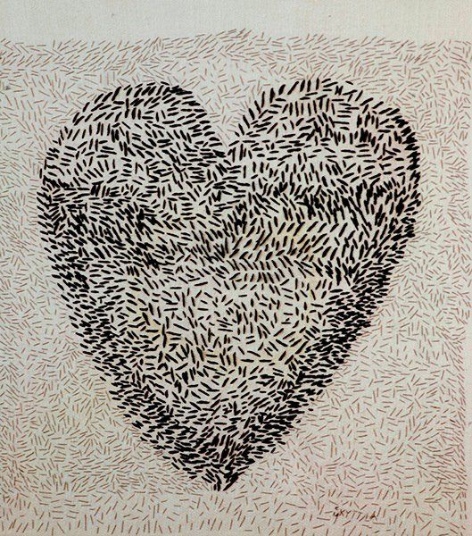 """""""Stygnskvättans hjärta"""" embroidery art by Gunilla Skyttla #broderi #embroidery #heart #gunillaskyttla"""