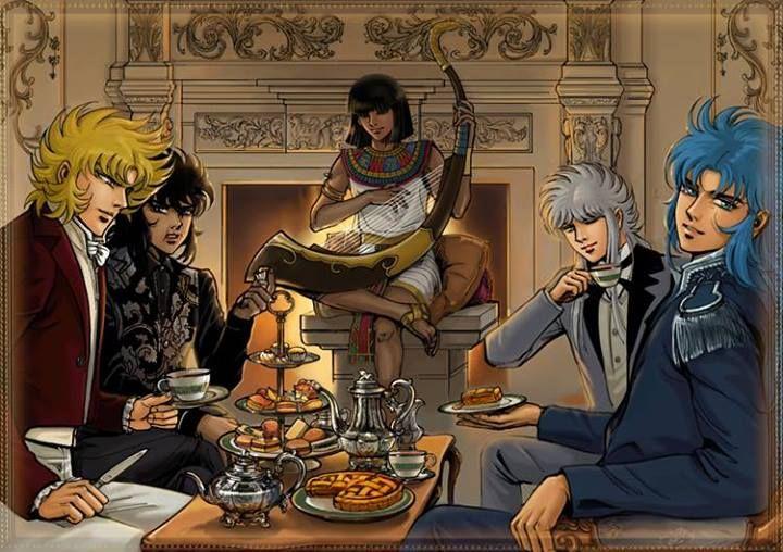 Os 3 juizes do Inferno, Radamanthys de Wyvern, Aiacos de Garuda, Minos de Griffon, tocando a harpa Faraó de Esfinge e o cavaleiro de ouro de Gemeos, Kanon