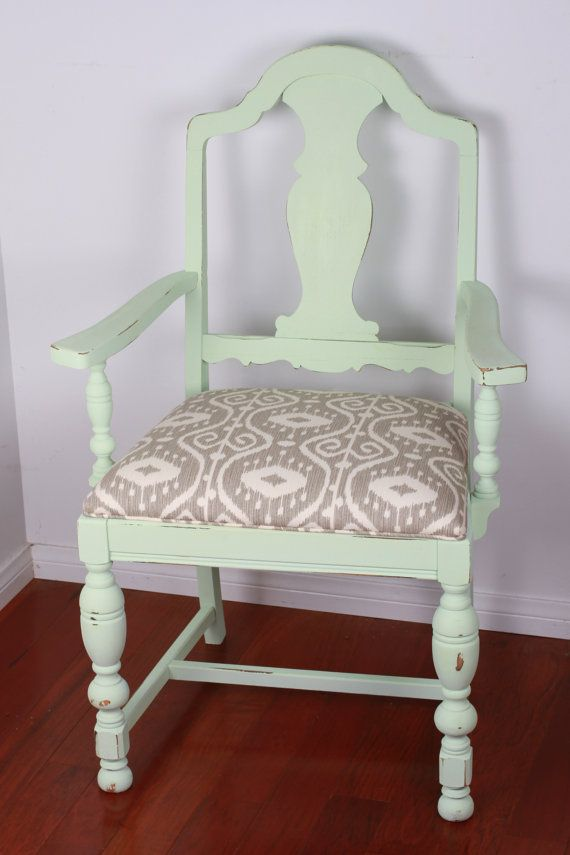 Vintage Circa 1950 39 S Solid Walnut Reupholstered And Refinished Dining Chairs Mint Green Paint