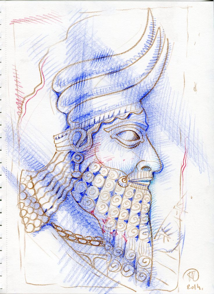 drawing, color pancil, assirian god, paper