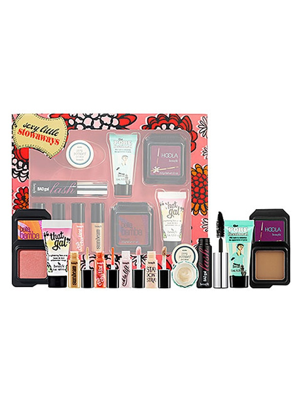 For the makeup junkie — Benefit Sexy Little Stowaways: http://beautyeditor.ca/gallery/gift-guide-2012-for-the-makeup-junkie/benefit-sexy-little-stowaways/