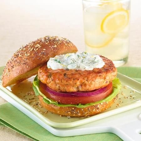 "Chef Richard Blais serves these Salmon Burgers on homemade rolls topped with an ""everything"" spice mixture of Coriander Seed, Poppy Seed, Toasted..."