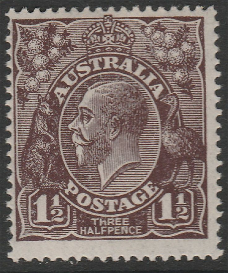 KGV Heads 1½d Black-Brown  BW84aa  Large Mult  Thin paper  MLH. Find more KGV Heads at Stamp Shop
