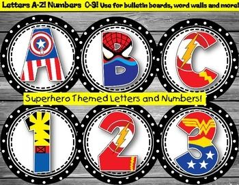 "This set of superhero letters and numbers turned out soooo cute, and would make a ""super"" addition to your superhero classroom. These can be used to spruce up your bulletin boards, word walls, student number tags, and much more! Limited on by your imagination!I've included 4 of each vowel and 2 of each consonant in this set.Also included are numbers 0-9!Just print, laminate, cut, and hang...If you have any suggestions, or would like the circles in a different color scheme, please don't…"