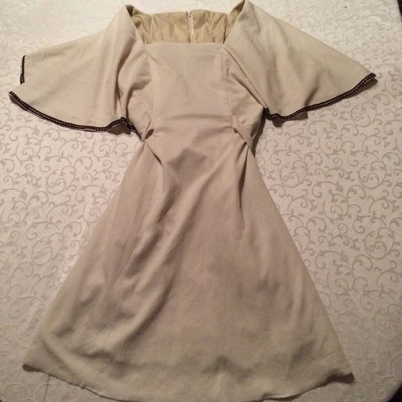 Ivory crepe batwing dress, brown rickrack trim Fully lined. Back zip. Lots of leeway on size, with that sash. From UK. Dresses Mini