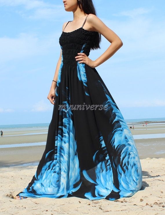 Black Maxi Dress Wedding Gown Bridesmaid Dress Prom Summer Plus Size Floral Evening Dress on Etsy, $55.00