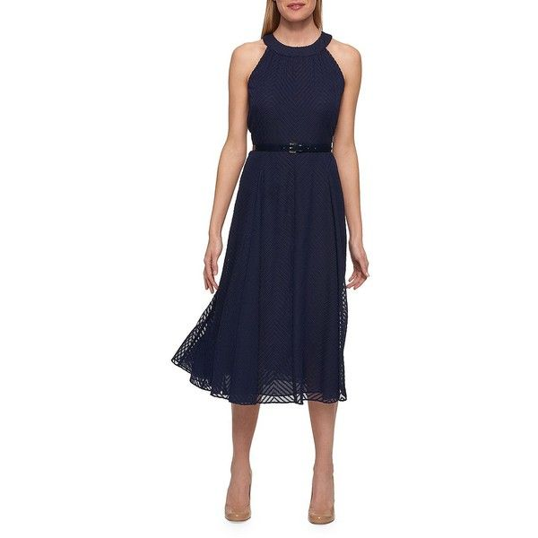 Tommy Hilfiger Women's Textured Halter Dress ($101) ❤ liked on Polyvore featuring dresses, midnight, overlay dress, tommy hilfiger, halter-neck tops, blue chevron dress and a line dress