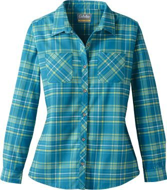 Cabela 39 s women 39 s flannel tech long sleeve shirt flannels for Country girl flannel shirts