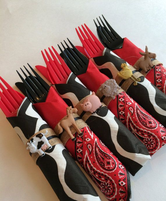 Barnyard Flatware Sets Bandana and Cowprint Party Silverware with Farmyard Charms Western Tableware Western Party Supplies & 33 best Western Cowgirl/Cowboy Party Ideas images on Pinterest ...
