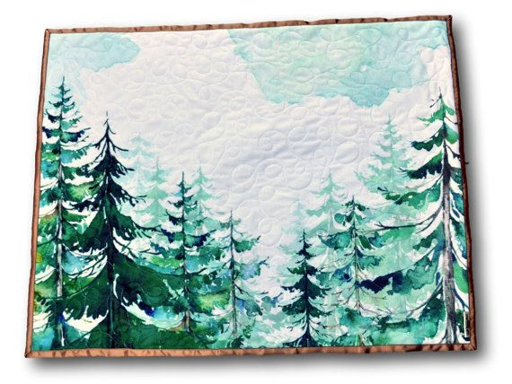 Forest baby quilt handmade from minky and satin-- love this for a nature themed nursery