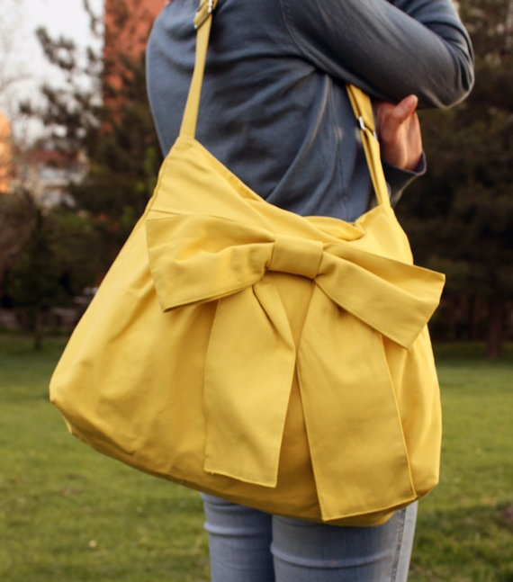handmade bag with large bow.35 00, Pattern Everyday, Handmade Bags, Bags Purses, Bows Bags, Bags Handmade, Yellow Pattern, Purses Special, Everyday Purses