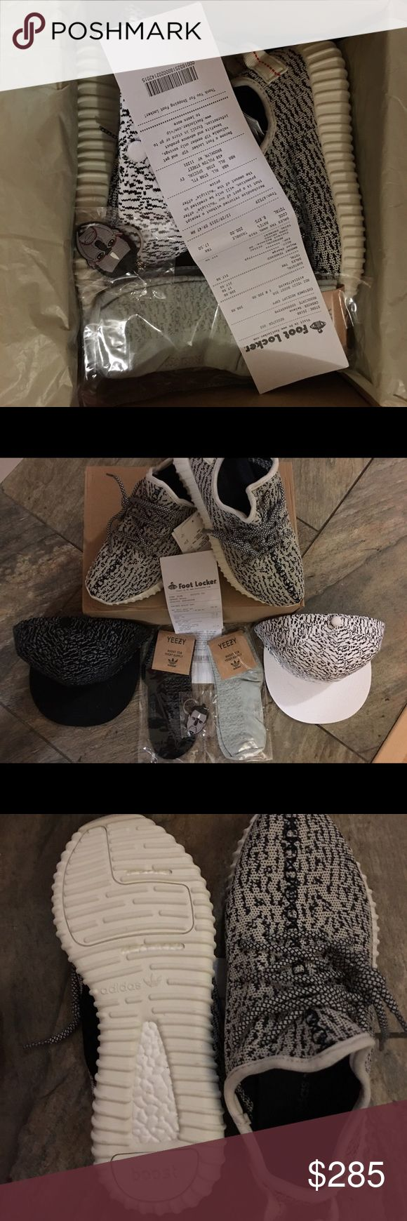 Bundle turtle dove Yeezy boost 350!! Size 7-8 Brand new never worn!! Everything is original. This is a bundle so a hat, a pair of socks, a keychain and the receipt will be given. Price is not firm so feel free to make offers. Feel free to message me if you have any questions. Adidas Shoes Athletic Shoes