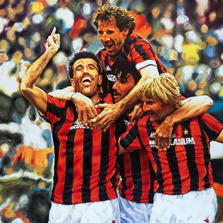 A.C. Milan 1988 - Artwork by artist Andrea Del Pesco Oil painting on canvas, size cm. 90x90