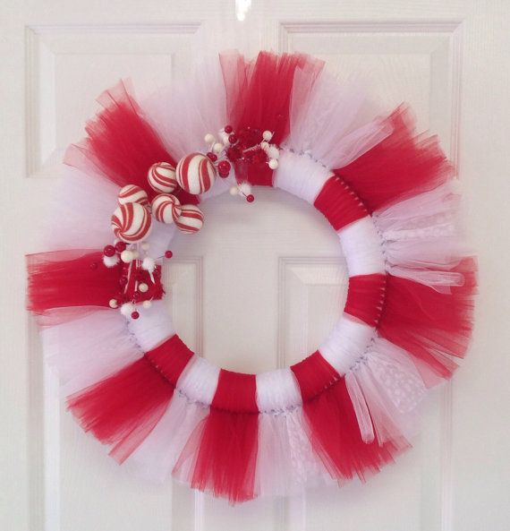 Christmas tulle wreath on Etsy, $30.00