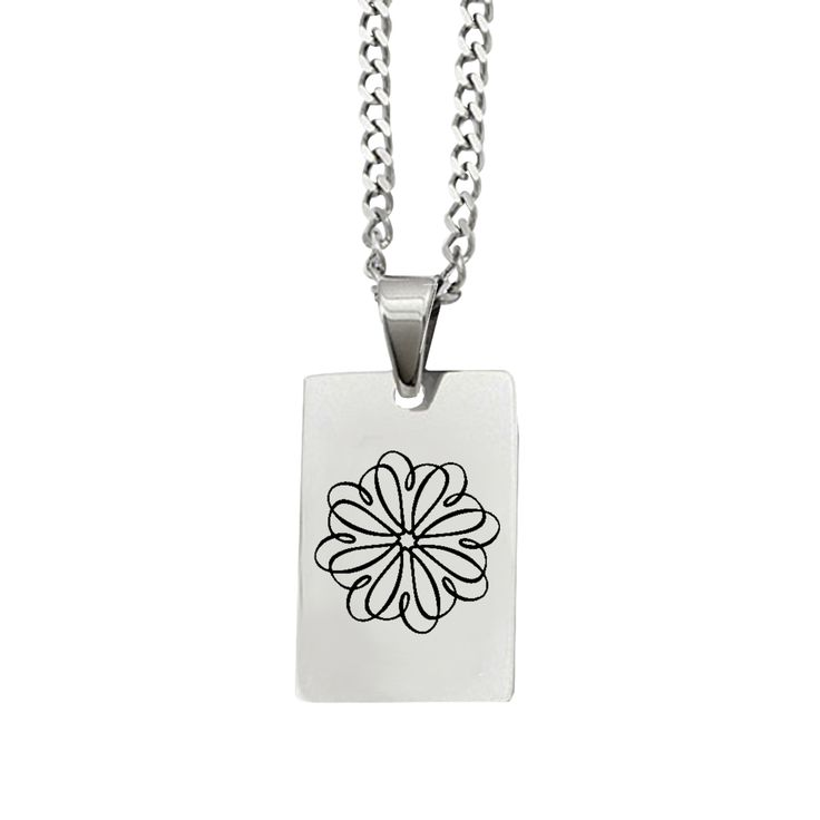 Sigma Kappa Symbol Rectangle Pendant Necklace in Stainless Steel