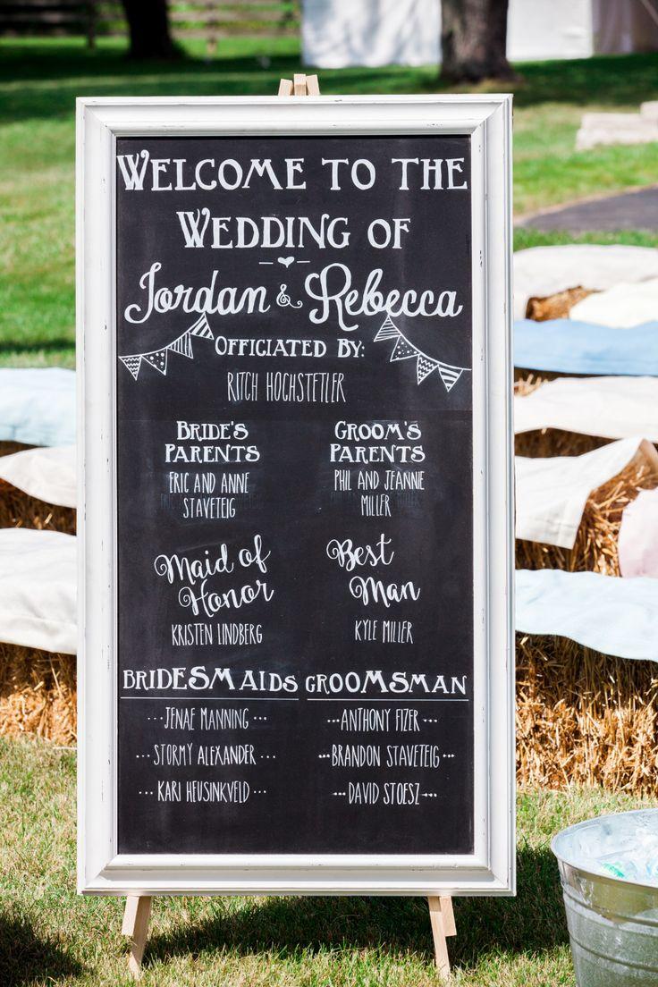 Pretty Pastel Farm Wedding Inspiration Chalkboard ProgramsWedding Program SignWedding