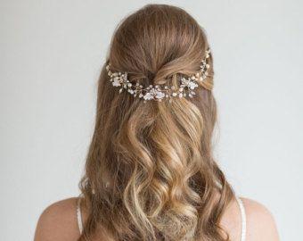 Boda cabello vid enredadera de flores pelo peluca novia vid