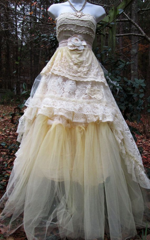 Cream Wedding Dress Tiered Lace Tulle Boho Rose Romantic