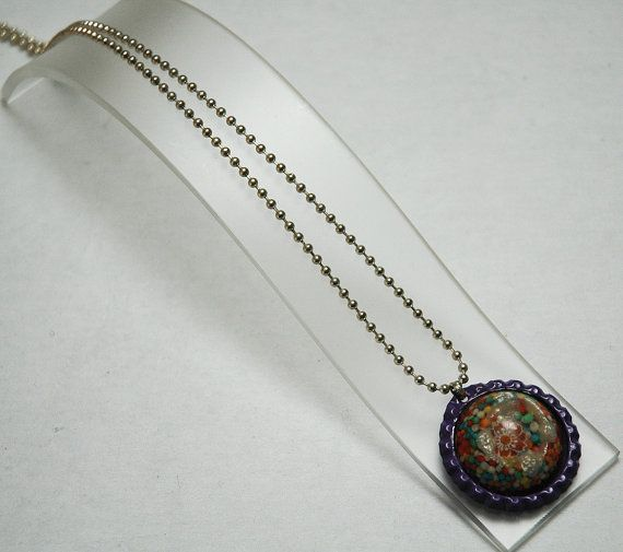 Resin Necklace Bottlecap Necklace Flower Necklace by KwaiJewellery, $29.95