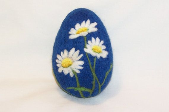Extra Large Needle Felted Easter Egg Daisies on by syodercrafts